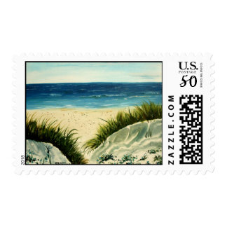 oil painting beach sand dunes postal stamps