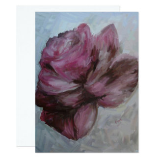Oil painting, card, invitation, rose, flower card