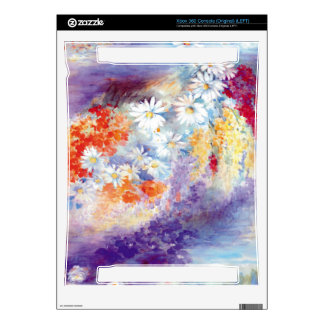 Oil painting flowers abstract decal for xbox 360