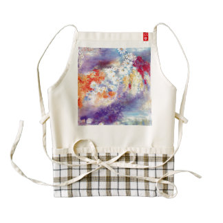Oil painting flowers abstract zazzle HEART apron