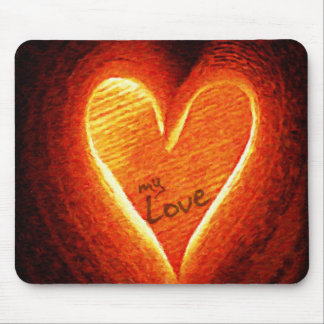 Oil Painting : Glowing Love Mouse Pad