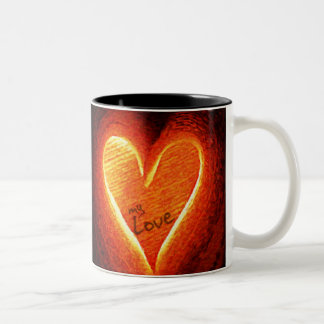 Oil Painting : Glowing Love Two-Tone Coffee Mug