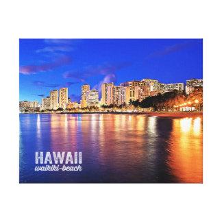 Oil Painting Hawaii Waikiki Beach Night Scene Canvas Print