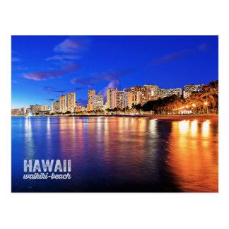 Oil Painting Hawaii Waikiki Beach Night Scene Postcard