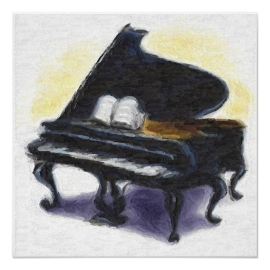 Oil Painting : My Piano Poster