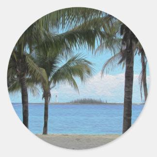 Oil Painting Nassau Bahamas Classic Round Sticker