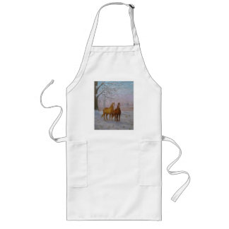 Oil Painting of Horses in the Snow by Joanne Casey Long Apron