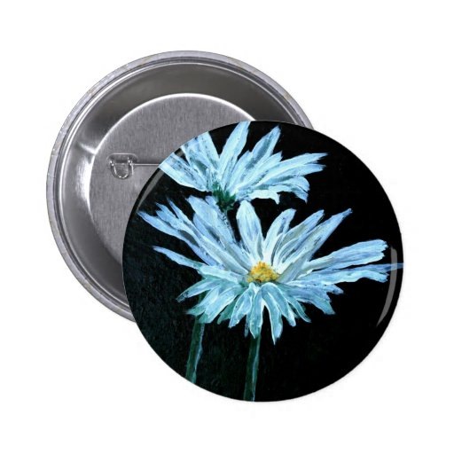 oil painting of white daisy flowers modern art buttons