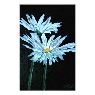 oil painting of white daisy flowers modern art stationery