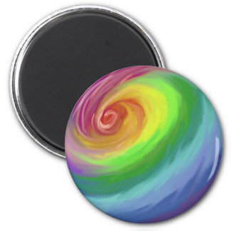 Oil painting rainbow swirl pattern magnet