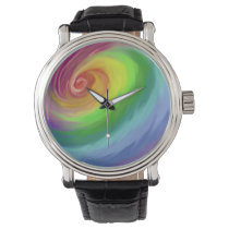 Oil painting rainbow swirl pattern wrist watch