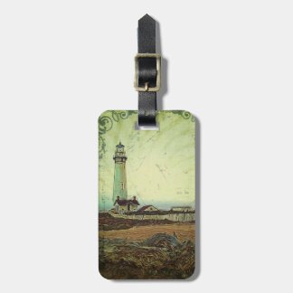 oil painting seashore nautical beach Lighthouse Luggage Tag