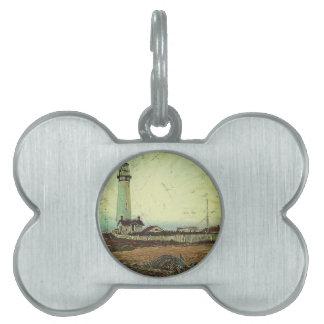oil painting seashore nautical beach Lighthouse Pet Name Tag