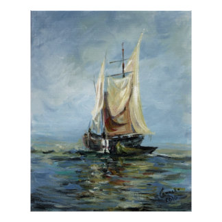 Oil Painting , Ship Poster