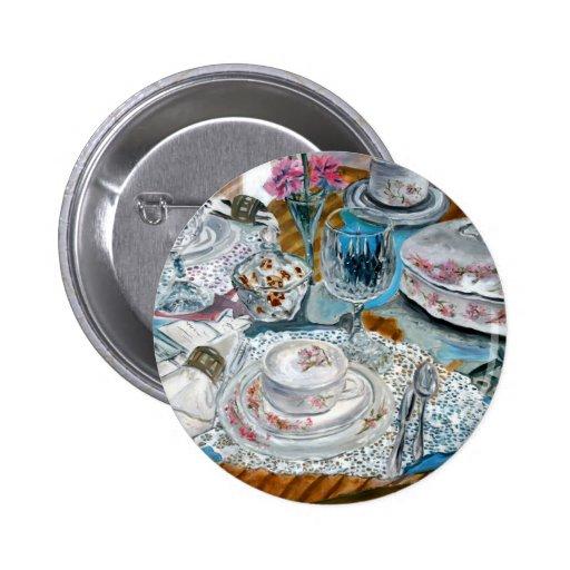 oil painting still life china tea set dinnerware pins