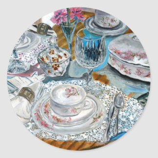 oil painting still life china tea set dinnerware classic round sticker