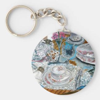 oil painting still life china tea set dinnerware keychain