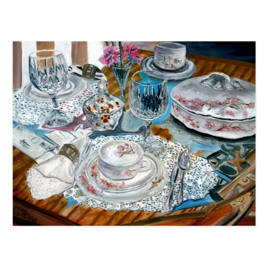oil painting still life china tea set dinnerware postcard