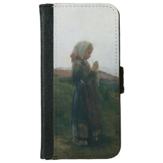 Oil Painting Young Girl Knitting Scenic Landscape iPhone 6/6s Wallet Case