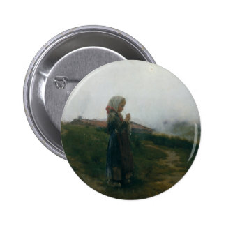 Oil Painting Young Girl Knitting Scenic Landscape Pinback Button