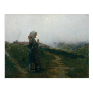 Oil Painting Young Girl Knitting Scenic Landscape Postcard