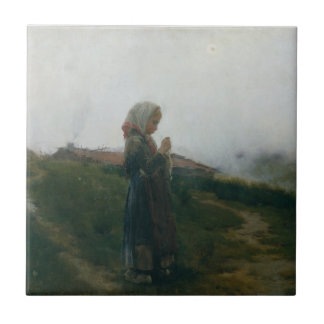 Oil Painting Young Girl Knitting Scenic Landscape Tile