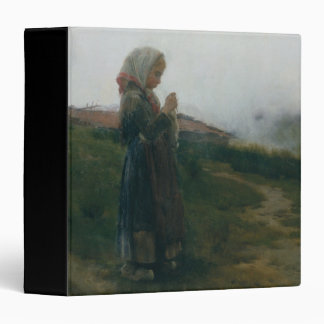 Oil Painting Young Girl Knitting Scenic Landscape Vinyl Binder