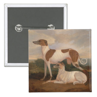 oil paintings of greyhounds pinback button