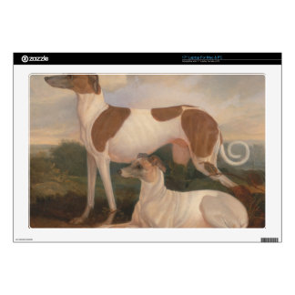 """oil paintings of greyhounds 17"""" laptop skin"""
