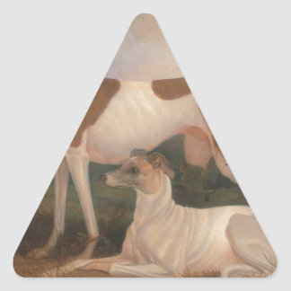 oil paintings of greyhounds triangle sticker