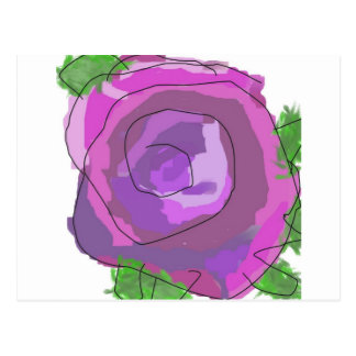 oil past rose postcard