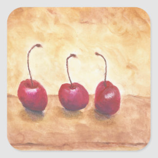 Oil Pastel Cherries Square Sticker