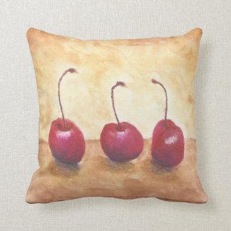 Oil Pastel Cherries Throw Pillow