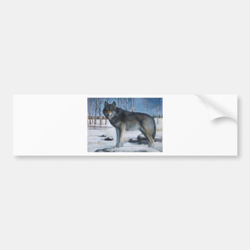 Oil Pastel Painting: Lone Grey Wolf in Winter Car Bumper Sticker