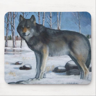 Oil Pastel Painting: Lone Grey Wolf in Winter Mousepads
