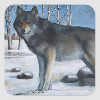 Oil Pastel Painting: Lone Grey Wolf in Winter Square Sticker