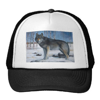 Oil Pastel Painting: Lone Grey Wolf in Winter Trucker Hat