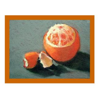 Oil Pastel Painting of an Orange Postcard