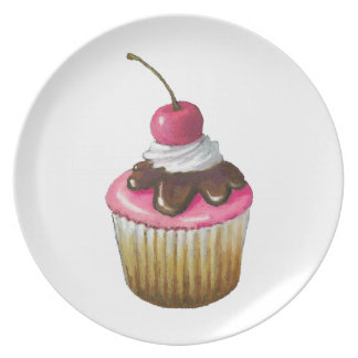 Oil Pastel Painting of Cupcake: Pink Icing, Cherry Dinner Plate