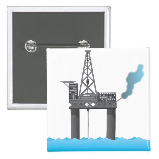 Oil Platform Pinback Button