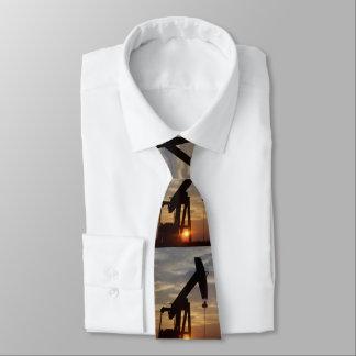 Oil Pump Jack At Sunset Necktie