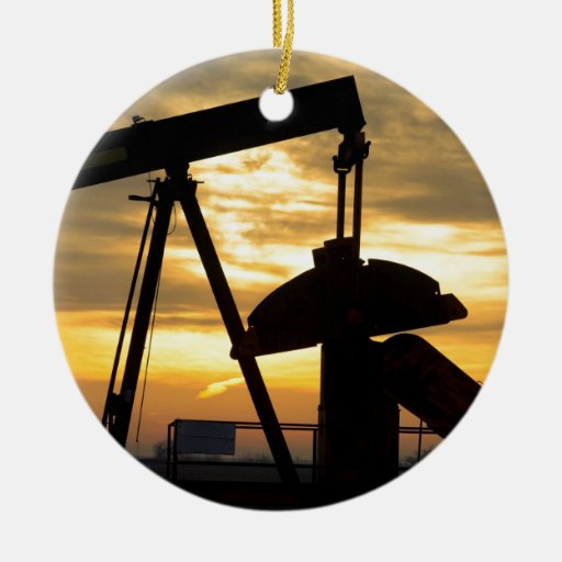 Oil Pump Sunrise Christmas Ornament