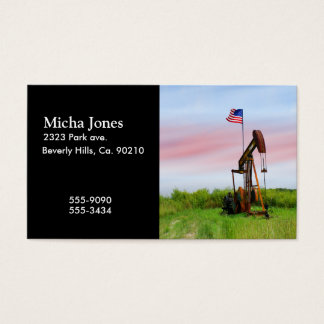 Oil Pump With American Flag Business Card