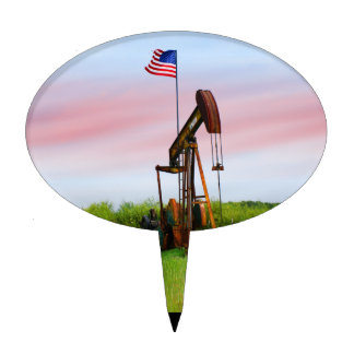 Oil Pump With American Flag Cake Topper