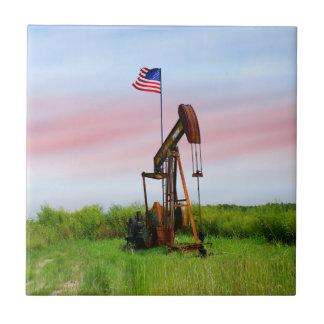 Oil Pump With American Flag Ceramic Tile