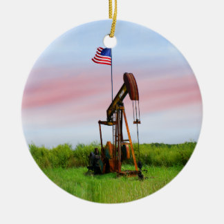 Oil Pump With American Flag Double-Sided Ceramic Round Christmas Ornament