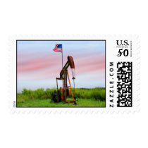 Oil Pump With American Flag Postage