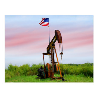 Oil Pump With American Flag Postcards