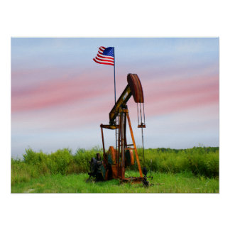 Oil Pump With American Flag Poster