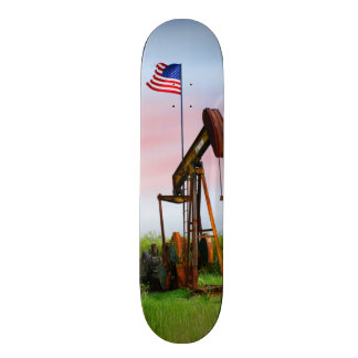 Oil Pump With American Flag Skateboard Deck